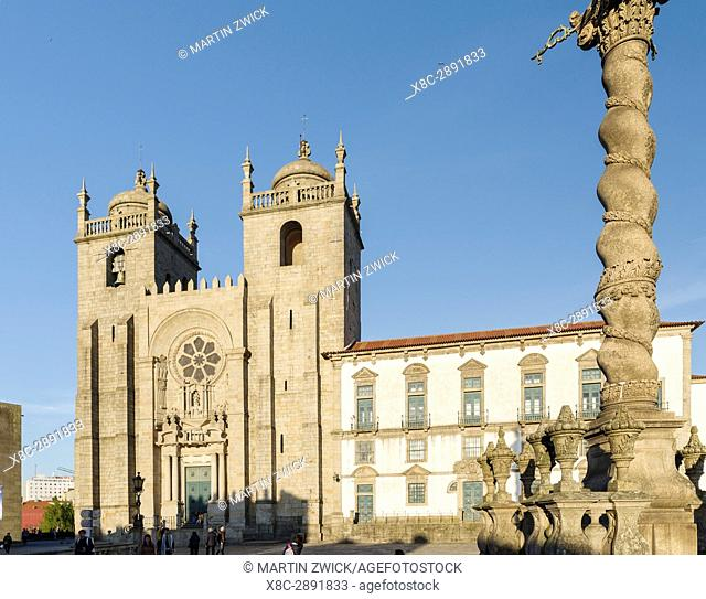 The Cathedral at Terreiro da Se. City Porto (Oporto) at Rio Douro in the north of Portugal. The old town is listed as UNESCO world heritage