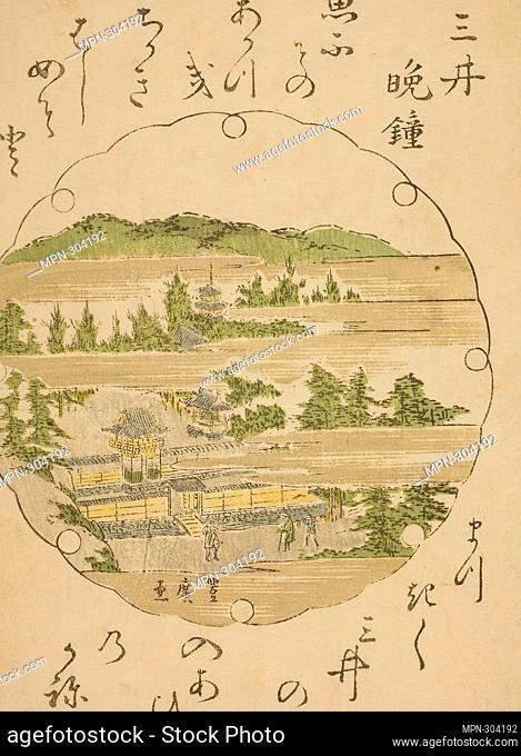 Author: Utagawa Toyohiro. Evening Bell at Mii Temple (Mii no bansho), from an untitled series of Eight Views of Omi - Utagawa Toyohiro Japanese, 1773-1828