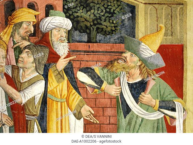Jews in medieval oriental clothes, detail from Jesus before Caiaphas, fresco, by Giovanni Canavesio, 1491, in the Notre-Dame des Fontaines Chapel, La Brigue