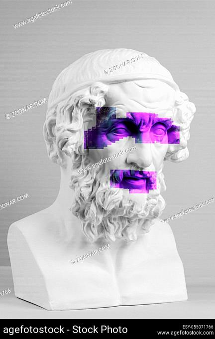 Modern conceptual art colorful poster with details of ancient statues of bust of Homer. Collage of contemporary art