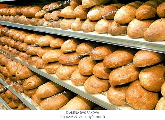 Loaves of bread on shelves