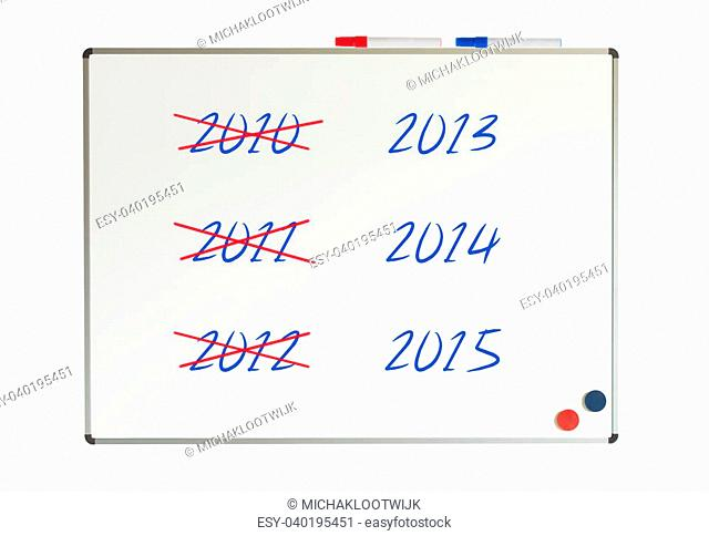 Calendar (years) written on a whiteboard, isolated on white