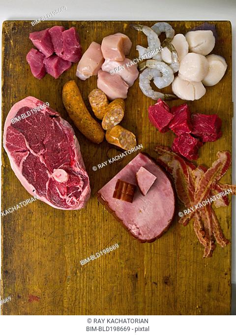 Various raw meat and seafood