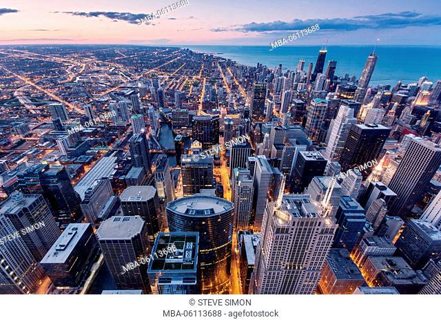 Chicago night photography, view from above