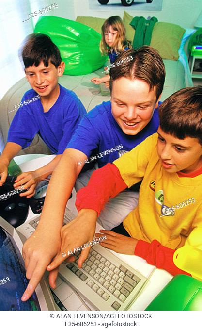 Children playing on computer
