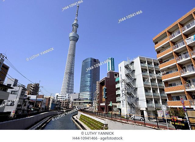 Architecture, Asakusa, Asia, Broadcast, Broadcasting, Canal, Day, Exterior, Honshu, Horizontal, Japan, Japanese, Kanto, Kantou, Metamodern, Metropolitan