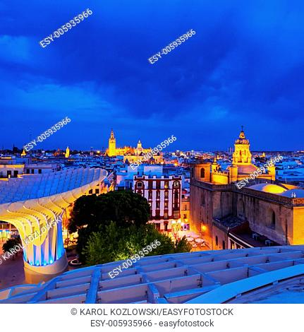 Night view of Seville from Metropol Parasol on La Encarnacion Square, Andalusia, Spain