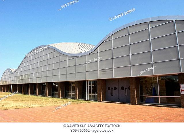 Sports pavilion by Arata Isozaki, Palafolls. El Maresme, Barcelona province, Catalonia, Spain