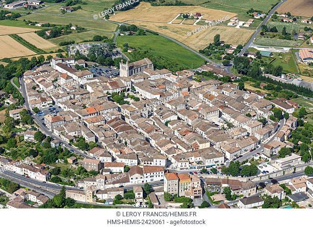 France, Lot et Garonne, Monflaquin, labelled Les Plus Beaux Villages de France (The Most beautiful Villages of France), the village (aerial view)