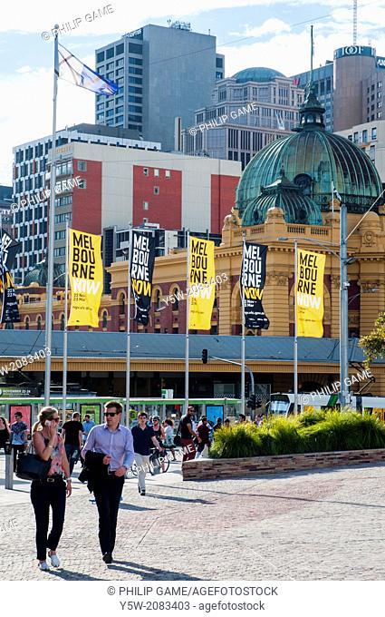Federation Square, Melbourne, with Flinders Street Station behind