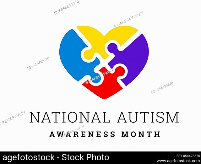 National Autism Awareness Month. Vector illustration with jigsaw puzzle heart on white
