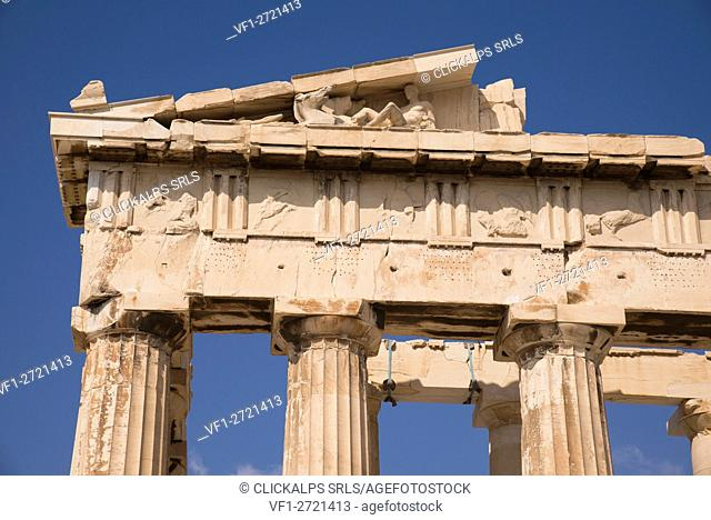 View of the Parthenon, Athens, Greece. In this point of the Parthenon there were statues and depictions of many scenes