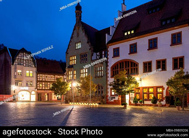 Germany, Thuringia, Schmalkalden, Old Town, Altmark, Town Hall, half-timbered houses, shops