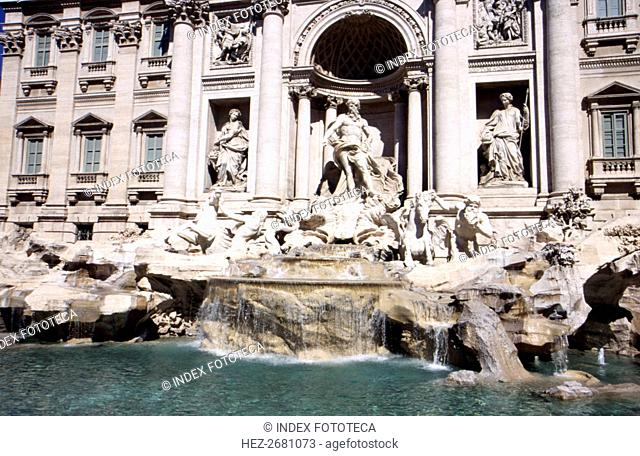 Rome, overview of the Fontana di Trevi, transition style from baroque to classical, work of Nicol?
