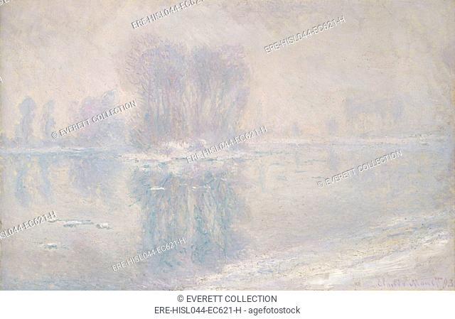 Ice Floes, by Claude Monet, 1893, French impressionist painting, oil on canvas. After cold and heavy snowfalls in the winter of 1892–93
