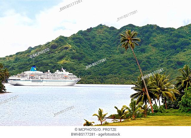 cruise ship Amadea anchored in the port of Huahine, French Polynesia, Ascension Island