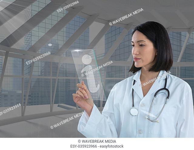 woman holding glass interface