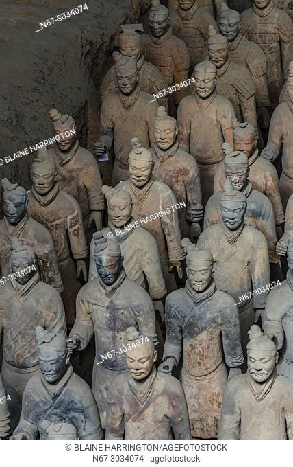 Pit 1, the excavation site of the Terracotta Army of Emperor Qin Shi Huang, the first emperor of China. The Army was buried with the Emperor in about 210-209...