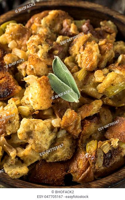 Fresh Homemade Thanksgiving Turkey Stuffing Ready to Eat