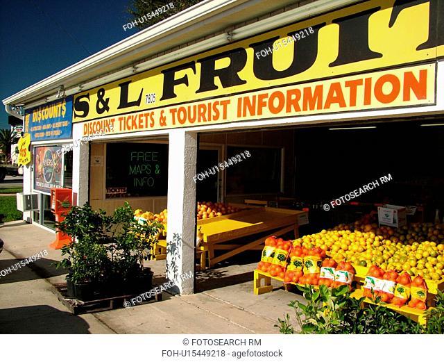 Orlando, FL, Florida, ticket stand, fruit stand
