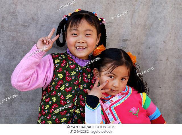Chinese girls. Qinghai. Huzhu. China