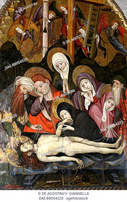Lamentation over the Dead Christ, painting by Jaume Cabrera, tempera on panel, museum of the cathedral of Saint Mary, Girona, Spain, 15th century