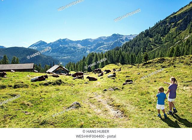Austria, Salzburg Country , Girl and boy wandering at Altenmarkt Zauchensee