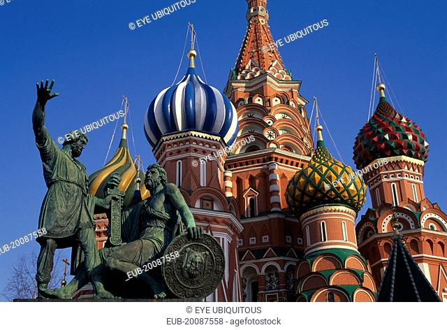 St Basil's Cathedral. Detail of onion dome spires and statue