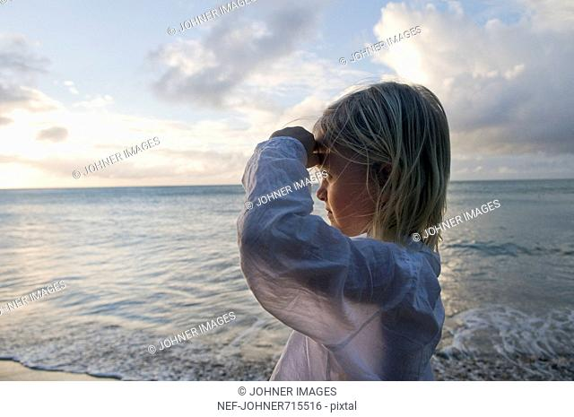 A Scandinavian girl standing by the sea, Guadeloupe