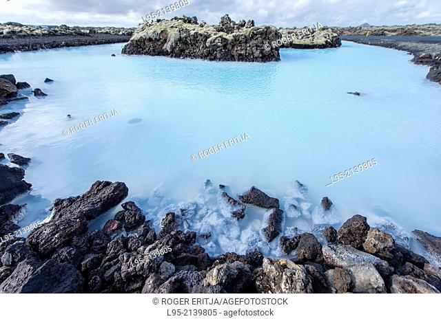 Blue Lagoon is a thermal resort using the hot water coming out from a geothermal power plant, Iceland (not property released)