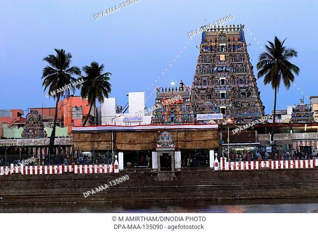 Illuminated Lord Kapaleswara Shiva temple during festival ; Mylapore ; Chennai ; India