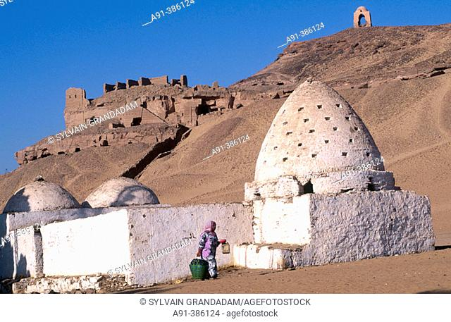 Grave of a holy man and young camel driver passing by, village of Gharb Aswan on west bank near Aswan. Nubia, Egypt