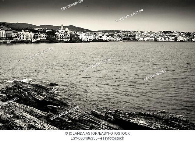 Overview daytime Bay of Cadaqués  Costa Brava, Catalonia, Spain