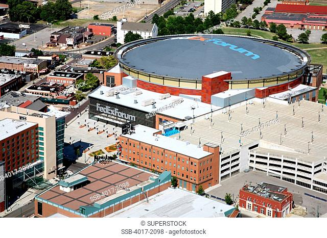 Aerial of FedEx Forum Arena in Memphis, TN