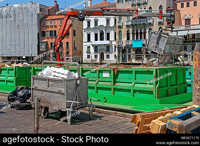 Green Barge With Crane for Transport Garbage and Recycling in Venice