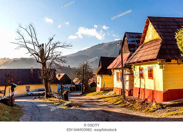 VLKOLINEC, SLOVAKIA - DECEMBER 24: Views of the village Vlkolinec and its typical heritage houses on December 24, 2015. Vlkolinec is a Unesco protected village...