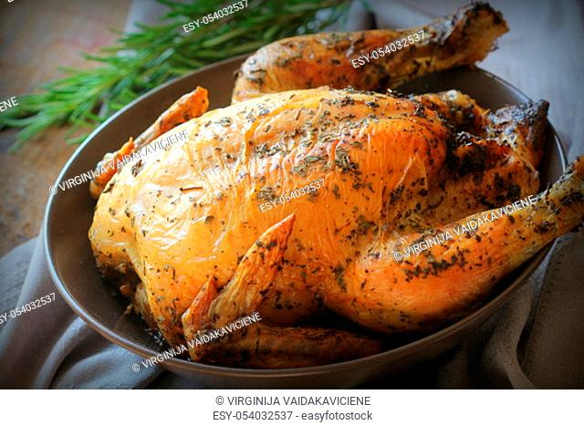 Roasted whole chicken or turkey for celebration and holiday. Christmas, thanksgiving, new year's eve dinner