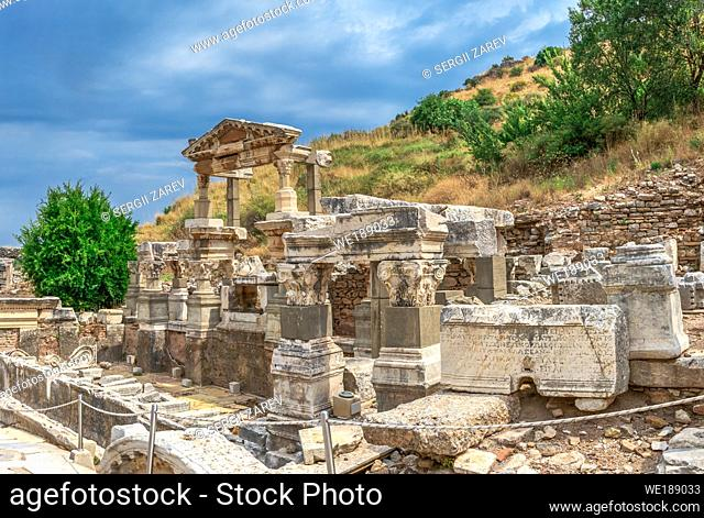 Ruins of The Fountain of Trajan in antique Ephesus city on a sunny summer day