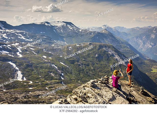 Dalsnibba Viewpoint, at right in background Geirangerfjord, More og Romsdal, Norway