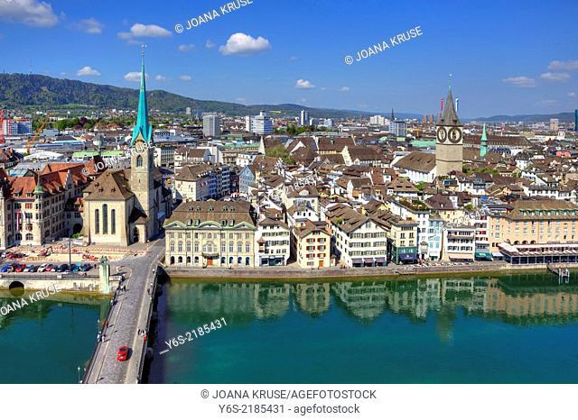 Fraumuenster, St. Peter, church, Limmat, Zurich, Switzerland
