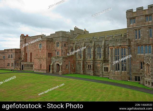 BAMBURGH, NORTHUMBERLAND, ENGLAND, UK - SEPTEMBER 10, 2017: View of Bamburgh Castle in Northumberland, England, UK