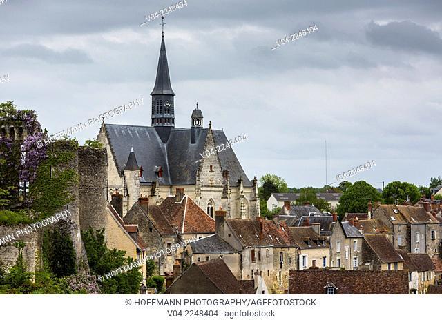 The picturesque village of Montrésor with the church Saint-Jean-Baptiste de Montrésor, Indre-et-Loire, France, Europe