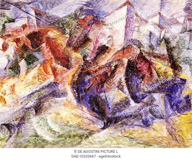 Horse, rider and buildings, 1914, by Umberto Boccioni (1882-1916), oil on canvas, 105x135 cm.  Rome, Galleria Nazionale D'Arte Moderna (National Gallery Of...