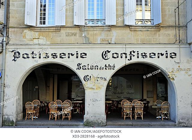 tea salon, Place Gambetta, Sainte-Foy-la-Grande, Gironde Department, Aquitaine, France