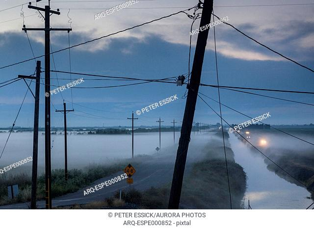 Irrigation Channel on Eight Mile Road near Stockton, California, USA