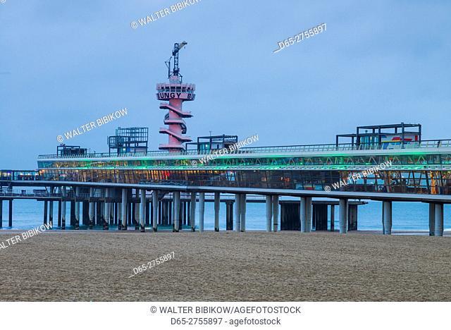 Netherlands, Scheveningen, De Pier, view of the Scheveningen Pier, dusk