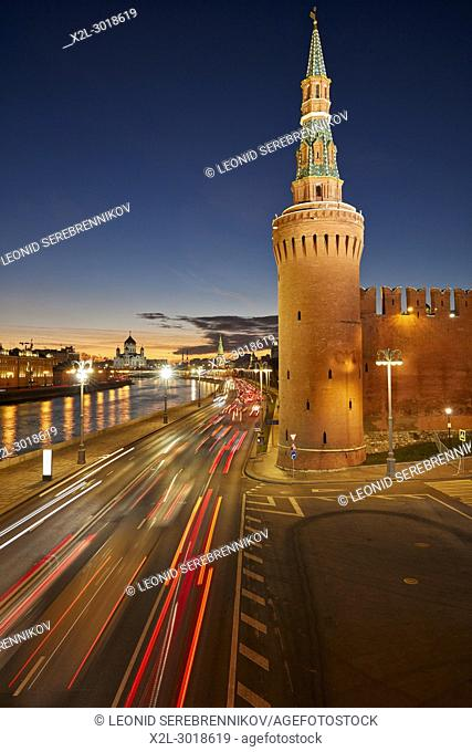 The Beklemishevskaya (Moskvoretskaya) Tower of the Kremlin Wall illuminated at dusk. Moscow, Russia