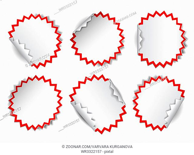 Set of white round promotional stickers with red frames. Vector illustration
