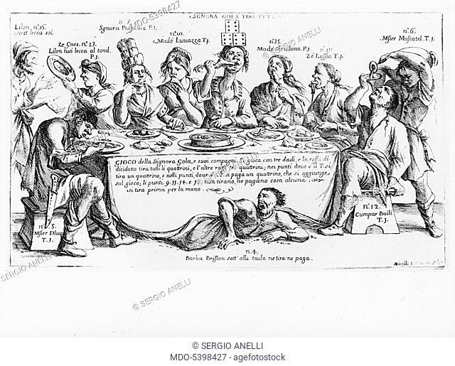 The game of lady Gluttony (Il gioco della Signora Gola), by Giuseppe Maria Mitelli, 1699, 17th Century, etching