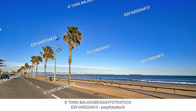 Platja de La Pineda beach in Vila-Seca of Tarragona at Catalonia